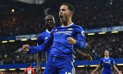 Hazard celebrating his goal against Man Utd