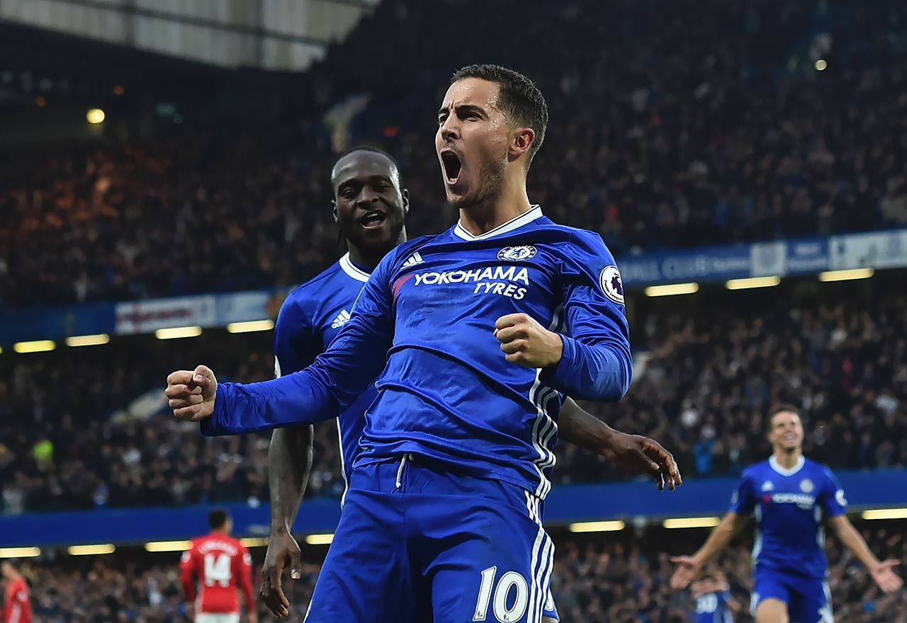 Hazard celebrating his goal against Man Utd