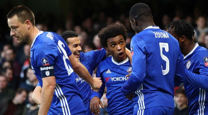 Chelsea players celebrate win over Brentford