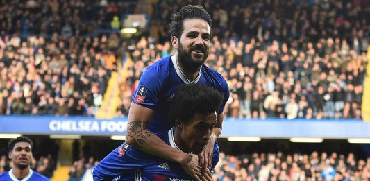 fabregas & willian celebrate
