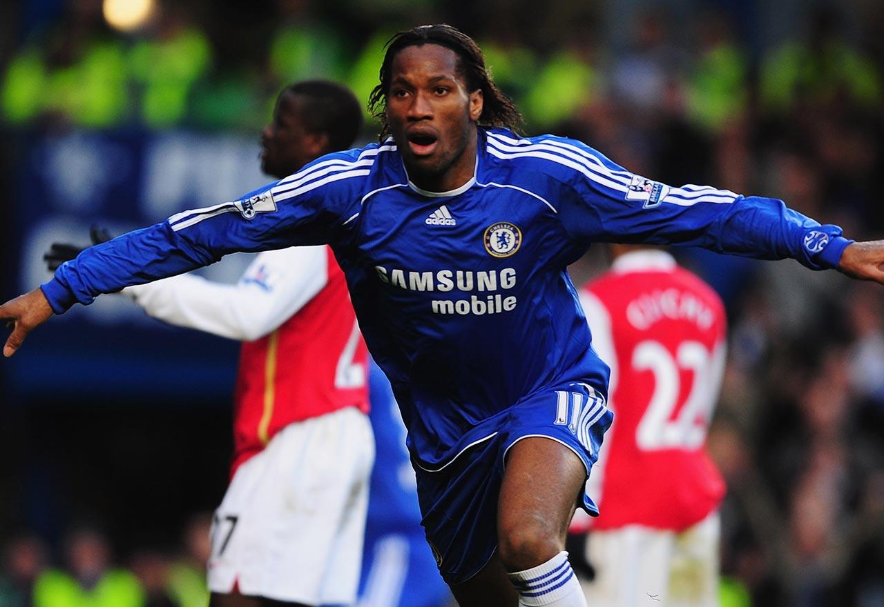 Drogba scores against Arsenal