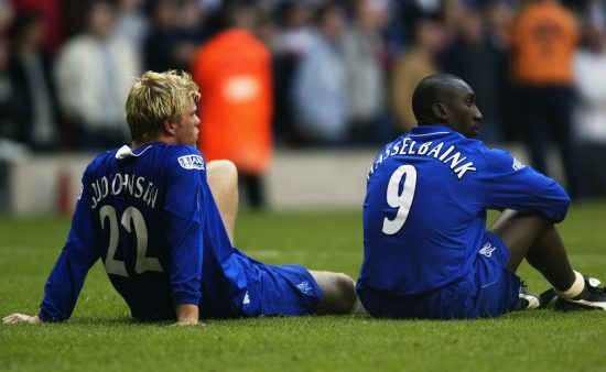 Eidur Gudjohnsen And Jimmy Floyd Hasselbaink Of Chelsea